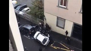Car Toppled During Student Protests in Central France - Video