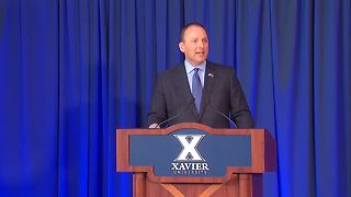 XU Athletic Director Greg Christopher announces new men's basketball coach - Video