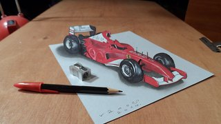 How to draw a 3D Ferrari Formula 1 car - Video