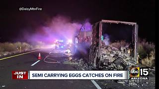 Semi-truck carrying eggs catches fire near Black Canyon City - Video