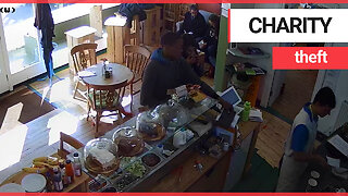 Shocking moment brazen thief steals iPad from charity cafe