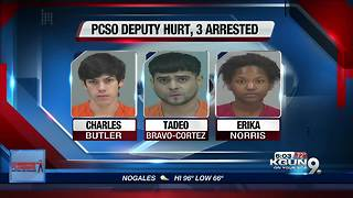 3 men arrested after deputy injured - Video