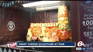 Giant cheese sculpture at Indiana State Fair - Video