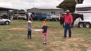 Cowboy demonstrates awesome skill with whip