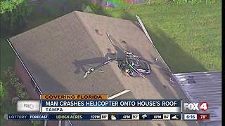 Florida man crashes small homemade helicopter into house - Video