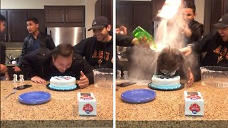 Hilarious moment party guests push birthday guy's face into cake and throw food at him