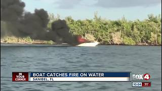 Boat Catches Fire Off Sanibel