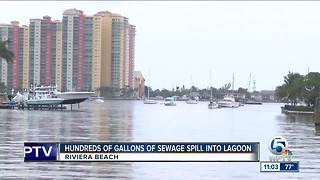 Hundreds of gallons of sewage spill into Lake Worth Lagoon in Riviera Beach