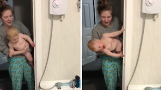 Baby loves bath time more than anything else in the world