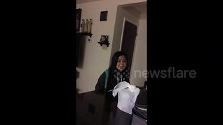 Little sister pranked into thinking she's late for school - Video