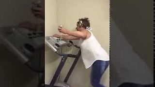 Wine + Treadmill = disaster - Video