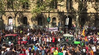 Tractors Roll Into Barcelona in Farmers' Show of Support for Referendum - Video