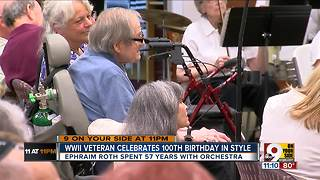 Orchestra serenades long-time violinist on his 100th birthday - Video