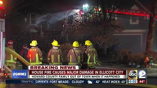 Early Morning house fire damages home in Ellicott City - Video