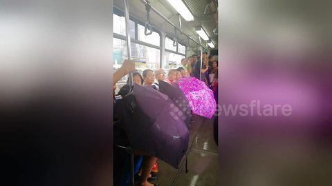 Passengers use umbrellas on leaky train in Philippines after monsoon