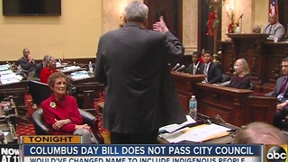 Bill to rename Columbus Day fails to pass City Council vote - Video