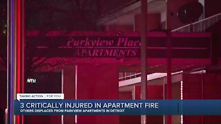 3 critically injured in apartment fire in Detroit