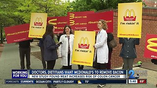 """""""Breakup with bacon,"""" doctors and dietitians protest outside McDonald's"""
