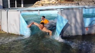 Swimming Pool Flood Fun! - Video