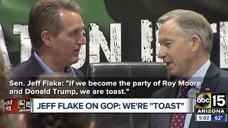 Hot Mic Heard Around The World! Jeff Flake Says Party Is Toast With Trump, Moore - Video
