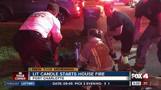 Lit candle starts house fire