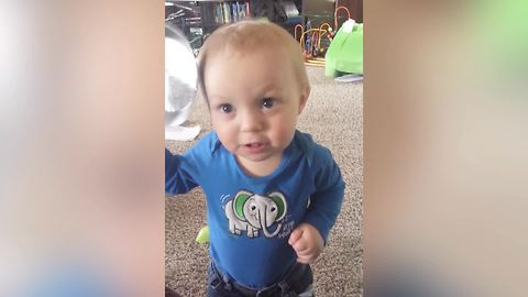 Baby Boy Creates Music With A Frying Pan