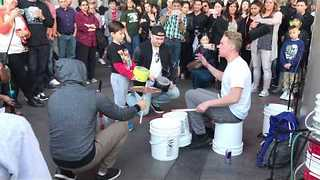 Street Performer Takes Bucket Drumming to a Whole New Level - Video