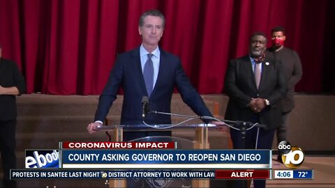 County asking Governor to reopen San Diego