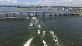 Drone footage of the Boaters for Trump birthday boat parade