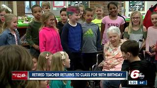 Fishers students help 98-year-old former teacher celebrate her birthday - Video