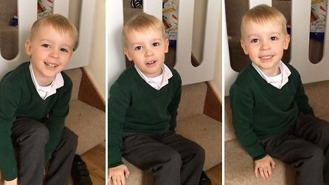 Five year old struggles to say popcorn and instead shouts 'c*ck p*rn' while getting ready for school