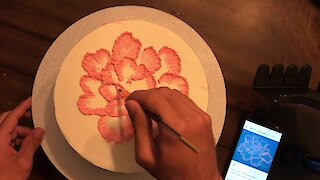 Super satisfying cake decoration time lapse