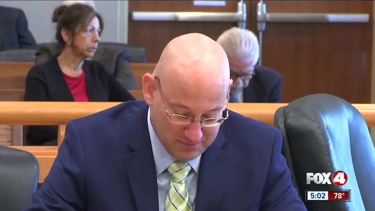 Mark Sievers appears emotional during opening statements