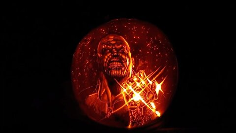 COMIC BOOK FAN CARVES MARVEL-LOUS PUMPKINS OF IRON MAN AND THANOS PERFECT FOR HALLOWEEN