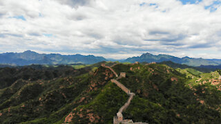 Drone footage of Great Wall of China