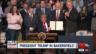 President Donald Trump addresses local farmers in Kern County