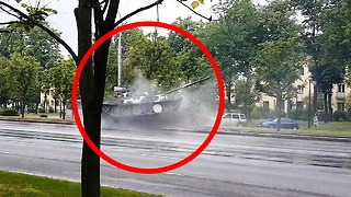 High speed tank crash in Minsk, Belarus - Video