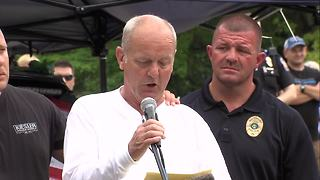 Father of Lt. Aaron Allan gives emotional speech during Southport's National Night Out - Video