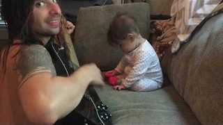 Cute Baby Dances When Her Dad Plays Guitar - Video