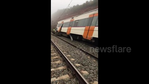 Aftermath footage shows derailed Catalonia train