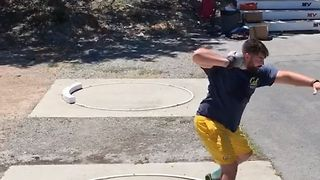 Man Practices His Shot Put Technique - Video