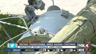 Broken transformer and wires causes concerns - Video