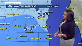 Snowfall continues overnight into Wednesday