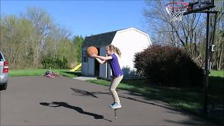 A Girl Wins At Pogo Stick Basketball - Video