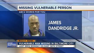 Baltimore City police search for vulnerable missing man
