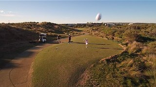Junior Golfer Knocks Drone Out of the Sky - Video