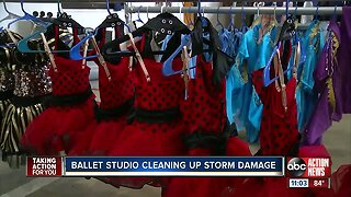 Ballet studio cleaning up after storm