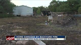 Polk Co. home damaged by backyard fire - Video