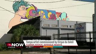 Tampa artist, once noticed by Lady Gaga for artwork, now commissioned by Cirque Du Soleil - Video