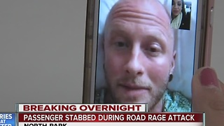 Passenger stabbed during road rage attack - Video